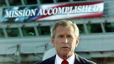 Bush on USS Abraham Lincoln gives mission accomplished victory speech