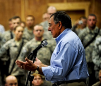 US Defens Secretary Leon Panetta at Camp Victory in Baghdad, Iraq