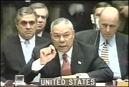 US Secretary of State Colin Powell addresses the un security council presenting evidence on weapons of mass destruction in Iraq