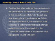 slide 18 text of item 4 of security council resolution 1441