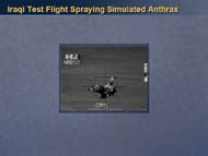 slide 23 photo of iraqi test flight spraying simulated anthrax