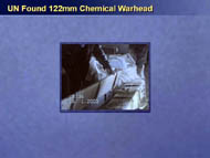 slide 29 UN-found 122 mm chemical warhead