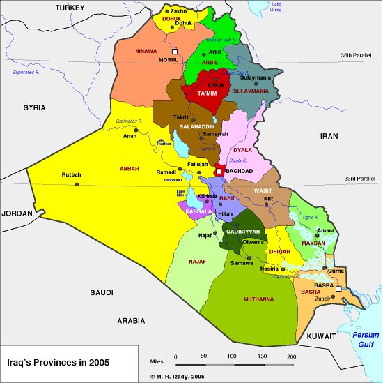 Iraq Provinces Map US Iraq War ProConorg - Iraq map