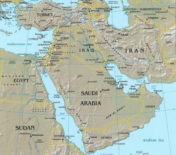 Middle East Relief Map US Iraq War ProConorg